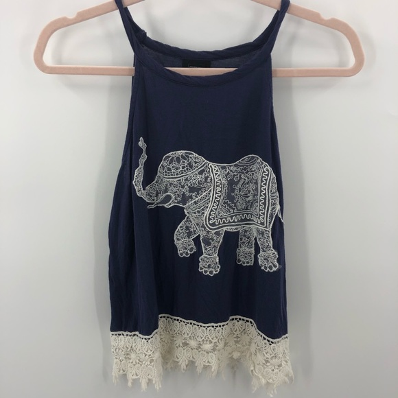 Rue21 Tops - Rue 21 Blue White Lace Elephant and Trim Tank Top
